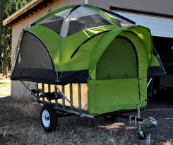 camping trailer with tent
