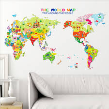 sticker kids nursery room home decor animal world map wall decal removableart ts