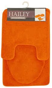hailey 3 piece bathroom rug set bath mat contour rug toilet seat lid cover orange com