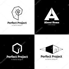 Interior Design Studio Logo Vector Set Of Four Modern Minimalistic Interior Design