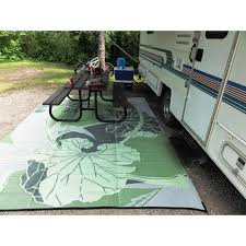 b b nia blossom outdoor rv camping green grey reversible patio mat 8 x 20 free today com 8557031