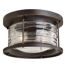 allen roth stonecroft 12 in w aged bronze outdoor flush mount light