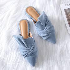 <b>Boussac Elegant</b> Bowtie <b>Women</b> Mules Pointed Toe Flat Shoes for ...