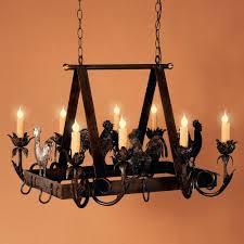 pot rack chandelier lit rooster pot rack sonoma collection pot rack chandelier