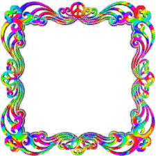 colorful psychedelic frame with peace signs