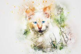 Watercolor Artistic Cat with Blue Eyes ...