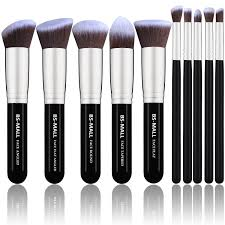bs mall tm makeup brush set premium synthetic kabuki makeup brush set cosmetics foundation blending blush eyeliner face powder brush makeup brush kit 10pcs