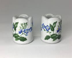 Funny Design West Germany Candle Holder Vintage West Germany Funny Designs Blue Floral Mini
