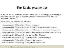 Top 12 ehs resume tips In this file, you can ref resume materials for ehs  ...