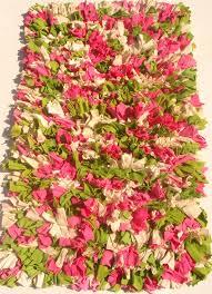 dz pink and green rag rug