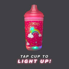 Nuby Insulated Light Up Cup Nuby Insulated Light Up Cup With No Spill Bite Resistant Hard Spout 10 Oz Pink Rainbow