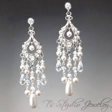 long bridal pearl chandelier earrings with crystals rhinestones