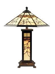 tiffany art glass lamp with nightlight