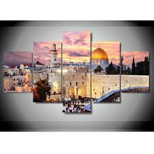 5 piece jerusalem modular picture wall decor high definition canvas ahuva  on modern jewish wall art with jewish art ahuva