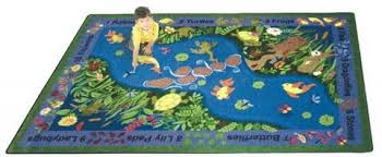 childrens area rugs A rectangular kids area rug is displayed for a  classroom with dark blue