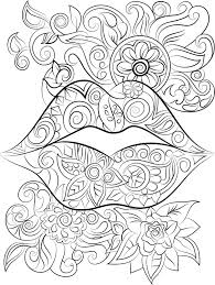 Lips And Flowers Colouring Page Instant Digital Download Coloring