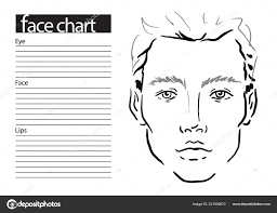 Chart Makeup Man Face Chart Makeup Artist Blank Template Vector