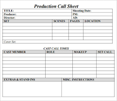 program sheet template sample call sheet templates free sample example format selimtd