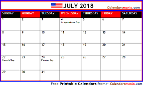 July 2018 Calendar Usa