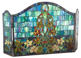 ocean ivy tiffany stained glass fireplace screens