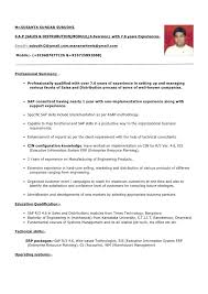 Sample Resume Format For Experienced Candidates