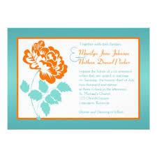 orange and turquoise wedding invitations. orange peony on turquoise wedding invite and invitations