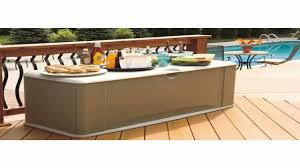 R Rubbermaid 5E39 Extra Large Deck Box With Seat Sandstone