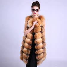 image is loading real red fox fur vest fashion fur coat