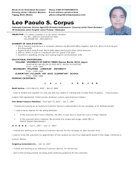 sample resume for call center job without experience call center resume  sample call center agent resume