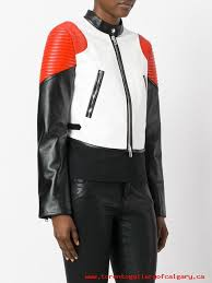 colour block biker jacket womens leather jackets larger image