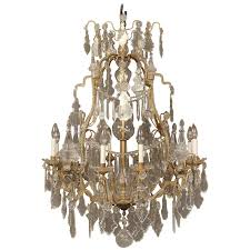 very fine late 19th century gilt bronze and crystal chandelier for
