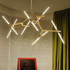 modern industrial chandelier metal adule branch pendant light acrylic ceiling lighting fixture for dining room living room 14 lights gold