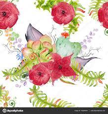 Rode Aquarel Bloemen Naadloze Patroon Bloemenprint Op De Witte