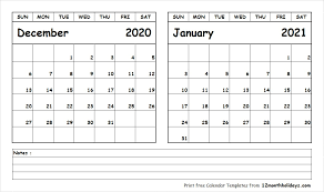 Printable Two Month Calendar December 2020 January 2021 Template
