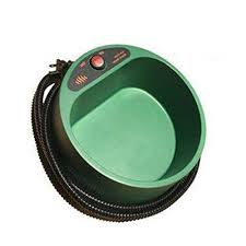 Pet Electronic Heated Water Bowl Dog Cat Dish Outdoor Thermal Feeder Heater (green;