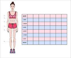 Measurement Chart Of The Body Parameters For Sport And Diet Effect