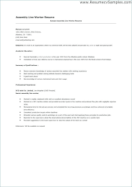 Production Worker Job Description Resume Sample Assembly Line Duties