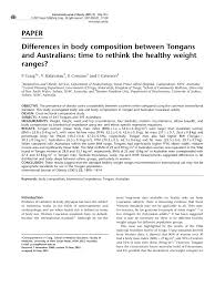 Pdf Differences In Body Composition Between Tongans And