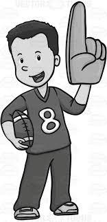football fan clipart. football fan wearing a giant foam hand clipart
