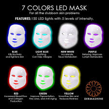 Led Light Therapy Color Chart Dermashine Pro 7 Color Led Mask For Face Photon Red Light For Healthy Skin Rejuvenation Therapy Collagen Anti Aging Wrinkles Scarring Korean