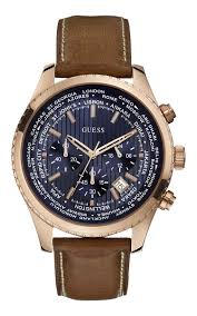guess pursuit chronograph men s brown leather strap watch