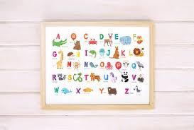 Animal Alphabet Print Printable Abc Chart Kids Wall Art Safari Nursery Decor Alphabet Letter Kid Room Decor Nursery Animal Abc Wall Print
