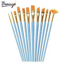 paint brush set. bianyo 12pcs different size artist fine nylon hair acrylic paintbrush set for watercolor gouache painting brushes paint brush m