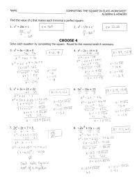 solving quadratic equations by completing the square worksheets image