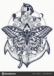 Kotva Růže Květiny A Motýl Tetování Stock Vektor Intueri