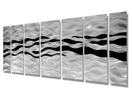 modern abstract black silver contemporary metal wall art