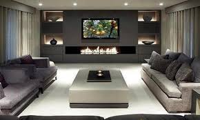 sleek living room furniture. Sleek White Indoor Fire Pit Coffee Table With Stylish Recessed Lighting And Grey Sectional Sofa For Luxury Living Room Ideas Furniture I