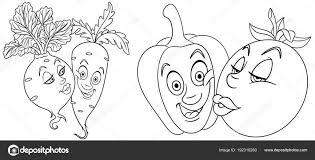 Kleurplaten Cartoon Groenten Liefde Mooie Kus Emoticons Emoji Voor