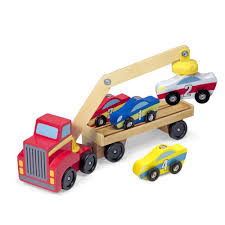 toy cars and trucks. Melissa \u0026 Doug Magnetic Car Loader Wooden Toy Set With 4 Cars And 1 Semi- Trucks Y