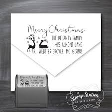 How To Address A Christmas Card Reindeer Christmas Card Return Address Self Inking Stamp